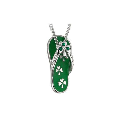 Pendant FlipFlop, green with stones