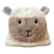 Baby cap, cream white with sheep
