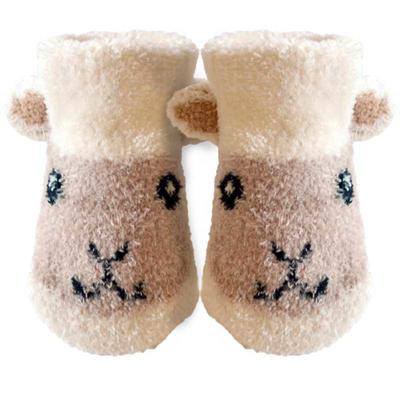 Baby socks, cream white with lamb