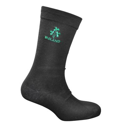 Cotton socks black with shamrock motif