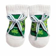 Baby socks, green with bow