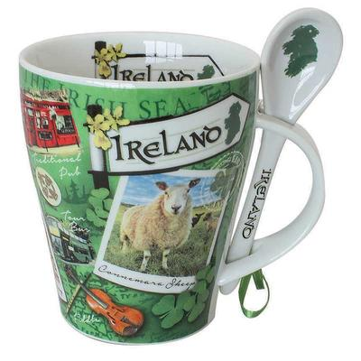 Cup with typical Irish sights and spoon