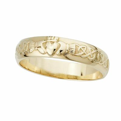 Mens Claddagh Ring, 14 carat gold