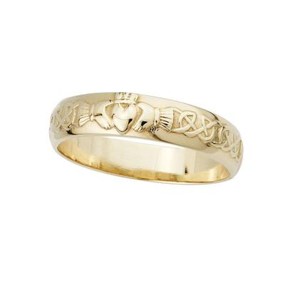 Damenring mit Claddagh Symbol, 14 Karat Gold