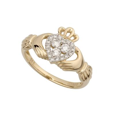 Ladies Claddagh ring in 14 carat gold set with diamonds