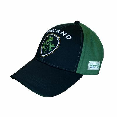 green-blue cap with embroidered shamrock motif