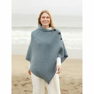 Ladies poncho from Ireland, dove blue-turquoise