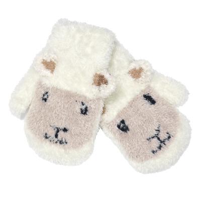 Babyfäustlinge, cremeweiß mit Schaf