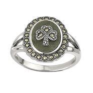 Ladies Ring Shamrock Green Marble