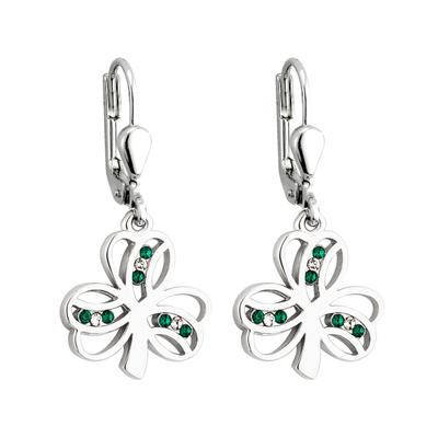 Earrings shamrock with green and white stones