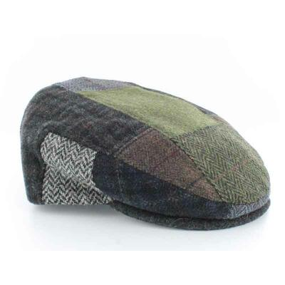 Patchwork Cap, black-grey green checkered