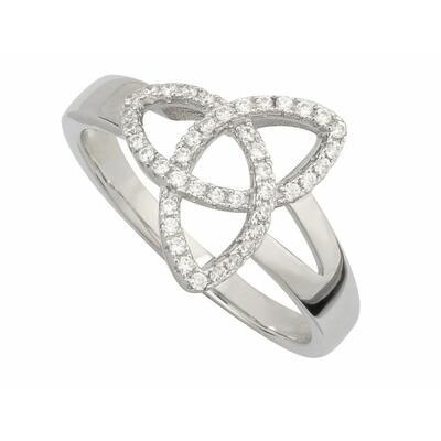 Ring Trinity Knot, Sterling Silber, Zirkonia Steinchen