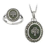 Damen Ring und Anhänger, Sterling Silber, Connemara...