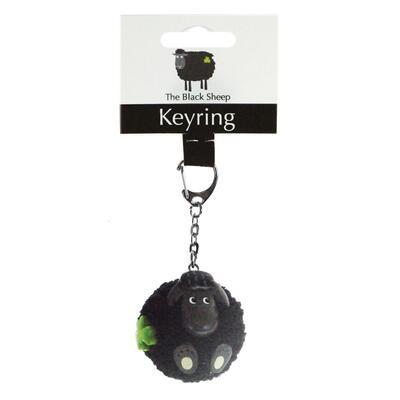 Fluffy Sheep Black Keyring