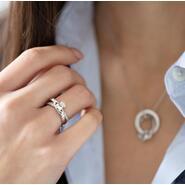 Damen Claddagh Ring, Kiss, Sterling Silber