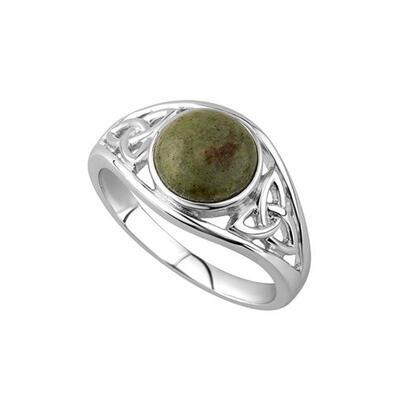 Celtic Trinity Knot Ring Connemara Marble