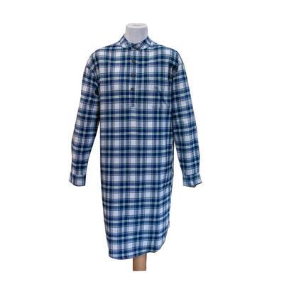 Nachthemd Damen/Herren, blau-weiß kariert