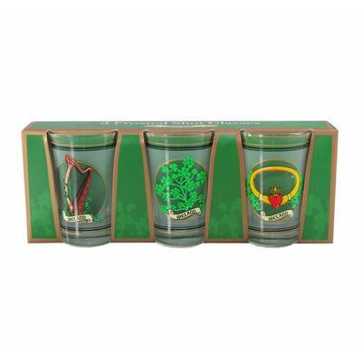 3 Schnapsgläser mit irischen Motiven