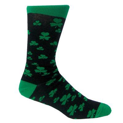 Cotton socks black with green shamrock motif