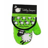 Wooley Jumpers Oven glove and pot holder set